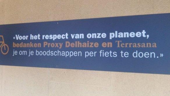 Slogan van Delhaize: 'voor het respect van onze planeet...'