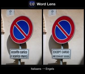 Word Lens - Voorbeeld van vertaling